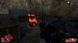 Un feu bien rouge provoqué par l'explosion d'une grenade du Demoman de Team Fortress 2