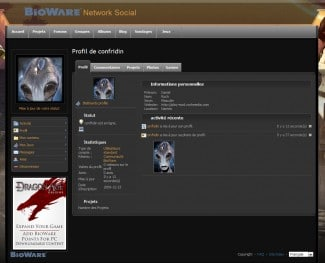 Le réseau social Bioware, très peu ergonomique...