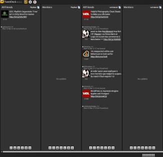 Tweetdeck en fonctionnement, avec deux comptes différents